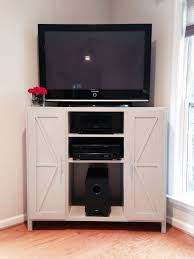 corner media cabinet. Tall Corner Media Console-Barn Door Twist   Do It Yourself Home Projects From Ana Cabinet E