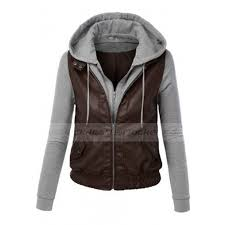womens brown faux leather moto jacket with hoo zoom womens
