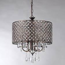 4 light antique copper round drum crystal chandelier ceiling fixture