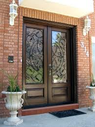 wood entry doors with glass custom wood door with wrought iron insert gallery in front doors glass and plans exterior wood doors with glass panels