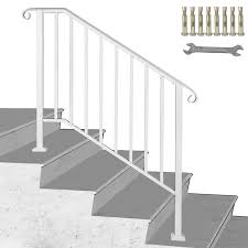 However, the adaptability of the metal and modern methods of treatment allow making various brass is less frequently used for outdoor and interior metal stair railing. Wrought Iron Handrail Picket Fits 3 Or 4 Steps Stair Railing For Outdoor Steps Ebay