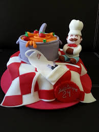 Chef Guy Kitchen Decoration Cooking Party Cake With Fondant Chefs Hat And Apron Spatula