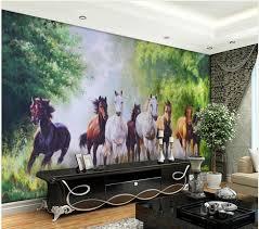 3d Behang Bos Achtergrond Mural Schilderen Acht Paarden Living 3d