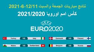 كأس امم اوروبا 2020 | نتائج مباريات الجمعة والسبت 12/11-6-2021 وترتيب  المجموعات وجدول المباريات - YouTube
