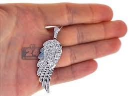14k white gold 1 60 ct diamond angel wing mens pendant