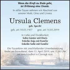 Traueranzeigen von Ursula Clemens | www.abschied-nehmen.de