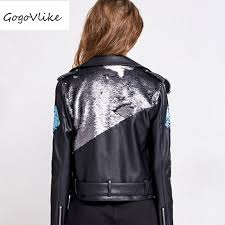 black motor leather jacket 2018 new punk rock sequins patchwork short design chaqueta cuero mujer pu