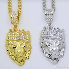 whole hip hop bling iced out jewelry crown lion head pendant necklace n608 pendant necklaces pendants necklaces from crazyxb 6 05 dhgate