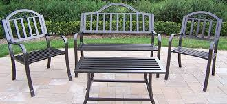 iron patio furniture. Outdoor Metal Furniture Stainless Steel Two Chairs And One Bench Table Stained For Gardens Patio Iron G