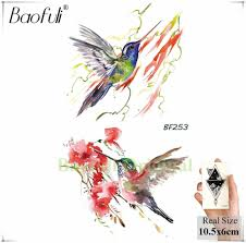 красочные птицы Hummer геометрические перо временные татуировки наклейки для