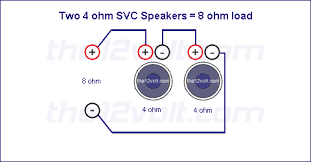 subwoofer wiring diagrams two ohm single voice coil svc speakers speakers wired in series recommended amplifier stable at 4 2 or 1 ohm mono