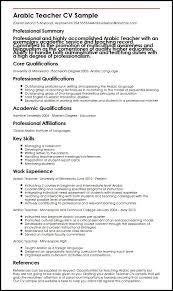 Teacher Curriculum Template Arabic Teacher Cv Sample Myperfectcv