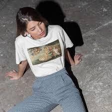 Ulzzang Mona Lisa cartoon fun <b>fashion</b> print T shirt spoof <b>personality</b> ...