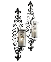 unique wrought iron wall decor with candles adornment art baffling design candle sconces ideas plat panels clear glass holders home lighting fascinating