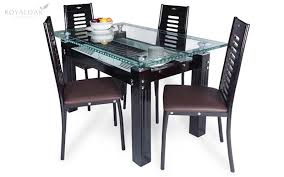 royaloak county 4 seater dining set with tempered glass top and veneer finish