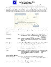 Works Cited Page Mla Print Resources