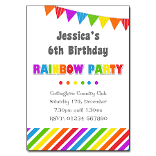 Childrens Disco Invitations Rainbow Party Invitation