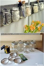 diy hanging jar makeup organizer