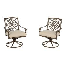 hampton bay cavasso swivel rocking metal outdoor dining chair with oatmeal cushion 2 pack