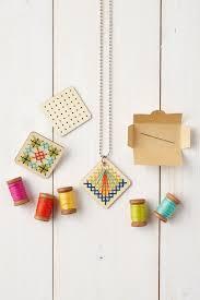 diy jewellery cross stitch wooden pendant