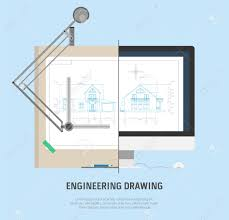 Illustration Board House Design Drawing The House On The Drawing Board And On The Monitor Screen