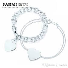 fahmi charm for gifts 925 sterling silver heart shaped women s elegant tif bracelet lock tif bracelet silverware matching world birthstone charm bracelet