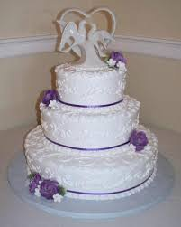Traditional Wedding Cake With Purple Ribbons Picture Of Cakes For