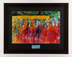 leroy neiman signed preakness stakes horse racing 25 x 32 custom framed