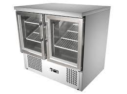 2 glass door commercial kitchen working bench fridge g9st