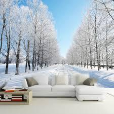 Custom Size 3D Wall Murals Wallpaper Winter Snow Tree Road Living Room TV  Backdrop Painting Wall