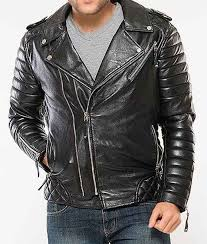 black padded motorcycle leather mens jacket