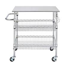 gatefield chrome large kitchen cart with stainless steel top