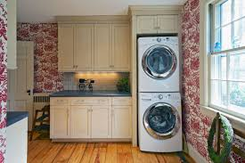 double stack washer and dryer. Small Stackable Washer Dryer Combo Design In Beautiful Tropical Kaundry Room With Floral Patterned Wall Double Stack And S