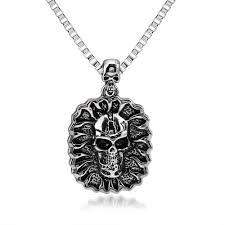 punk hip hop necklace pendant men s skull pendant pendant necklace 0