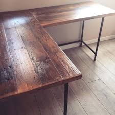 reclaimed wood dining table diy l shaped desk pipe legs