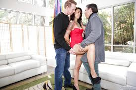 Asian girl Dana Vespoli gets DP and cumshot facial in hot 3some.