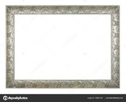 silver rectangle old vintage frame white background isolated stock photo