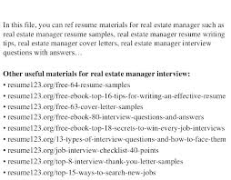 Property Manager Resume Cover Letter Commercial Property Manager