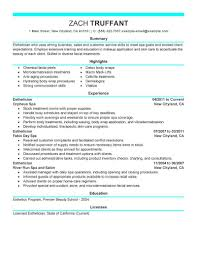 Examples Of Esthetician Resumes