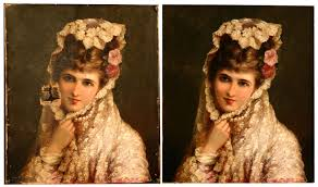 portrait of a lady before after painting restoration