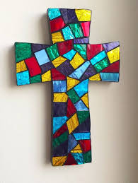 mosaic wall cross religious wall art stained glass mosaic cross unique religious gift h23 x w15cm 9 x 6  on religious wall art crosses with mosaic wall cross religious wall art stained glass mosaic cross