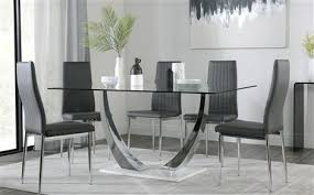 peake glass and chrome dining table white gloss base with 6 leon grey chairs