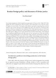 Iranian Foreign Policy And Discourse Of Divine Justice Topic Of
