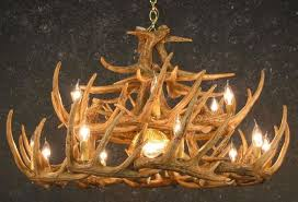 cast horn designs faux 24 antler white tail chandelier with downlight