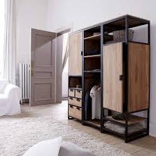 industrial style bedroom furniture. solid teak and metal wardrobe unit 3 shelf 1 cupboard industrial style bedroom amazon furniture d