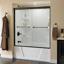 delta mandara 60 in x 58 1 8 in semi frameless sliding bathtub door in bronze with clear glass 158731 the home depot