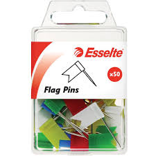 Esselte Pins Flag Pins Assorted Colours Pack Of 50