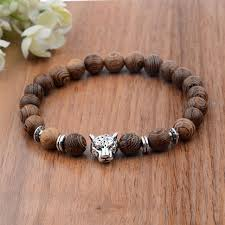 fashion wooden beads silver plated leopard elastic bracelets jewellery xmas gift