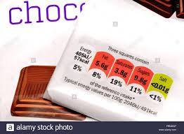chocolate bar wrappers chocolate bar wrappers showing nutritional information stock photo