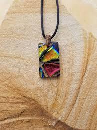 rainbow mosaic dichroic glass pendant